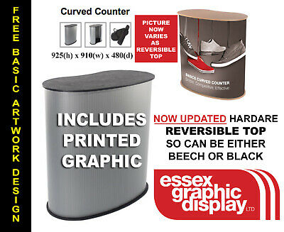Fast Install Pop Up Curved Counter Display Podium Exhibition Podium Inc Graphic