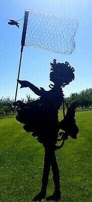 Metal Garden Art Vintage Silhouette- The Butterfly Girl