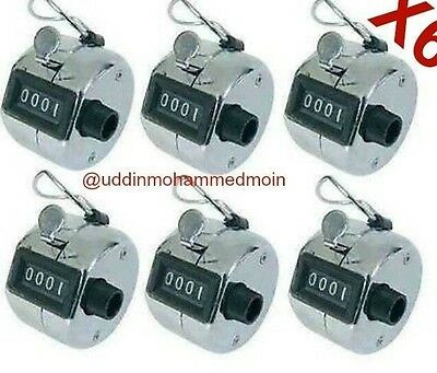 6 X Metal Tally Counter 4 Digit Hand Tally Counter Manual Clicker Golf Club