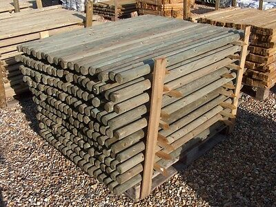 "1.2m (4ft) x 50mm (2"") round treated pointed wooden fence fencing posts wood"