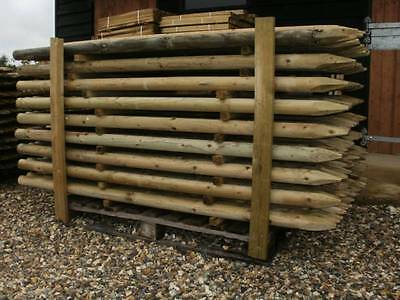 1.8M (6ft) tall X 60mm round treated wooden fence posts, just £3.49, wood stakes