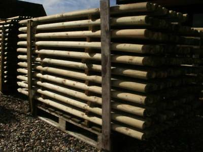 1.5m (5ft) X 60mm strong treated round wooden fence posts, wood  fencing