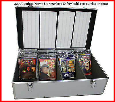 New Aluminum 840 Discs Movie Storage case DVD Blu-Ray Mess Free Silver w Sleeves