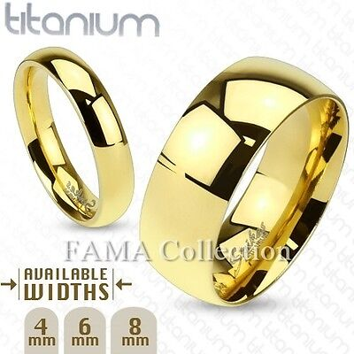 FAMA Solid Titanium Gold IP Classic Wedding Band Ring Select Size