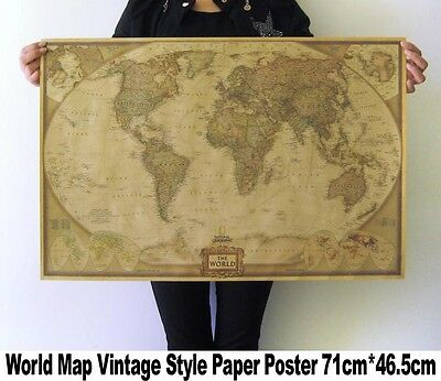 1 x world map poster atlas vintage antique paper home office decor wall art new