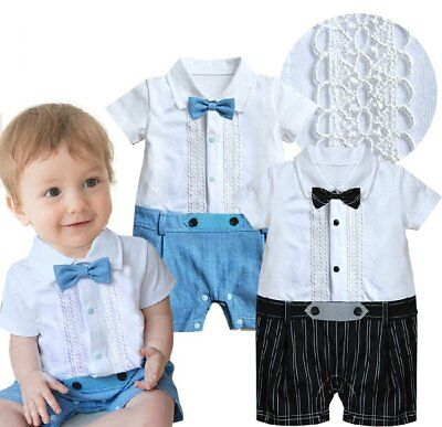 Baby Boy Wedding Christening Formal White Tuxedo Suit Outfit Clothes Size 00 0 1