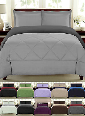 Reversible Goose Down Alternative Comforter Sham 3 PC Set 90 GSM - 14 Colors