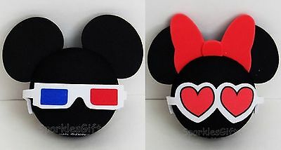 Disney - Mickey Mouse 3D & Minnie Mouse Heart Glasses Antenna Toppers Lot of 2