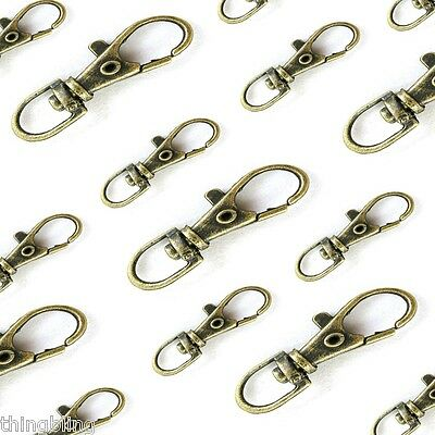 Small alloy silver or Bronze Lobster Trigger Swivel Clasps  Keyring Hook 35x13mm