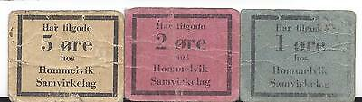 Norway WW2 Hommelvik Samvirkelag 1, 2, 5 Ore with stamp on back SB unlisted VG-F