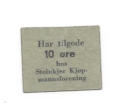 Norway WW2 Steinkjer Kjopmannforening  10 Ore Paper Chit or coupon SB--  nice EF