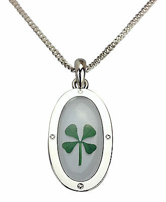 Celtic Lucky Real Four Leaf Clover Pendant Necklace Rhodium Plated