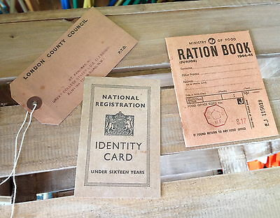 3 pack Repro Ration Book Evacuee Tag & ID Card authentic-style WW2 Home Front