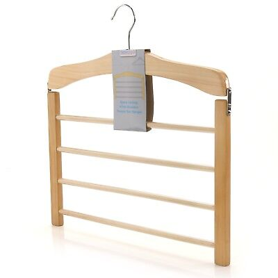 Natural Wooden Tiered Non Slip Trouser Bar Hanger Clothes Coat Hangerworld