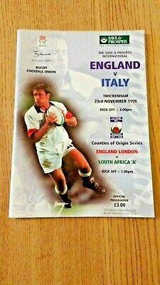 England v Italy 1996 Rugby Programme