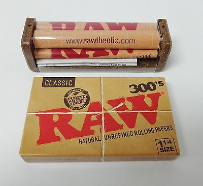 RAW 300's Classic Rolling Papers + RAW 79mm Hemp Plastic Roller *Free Shipping*