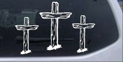 3 Rugged Crosses Christian Car or Truck Window Laptop Decal Sticker