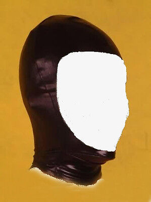 Spandex with Latex Hood Full Mask Face Open Costume Black
