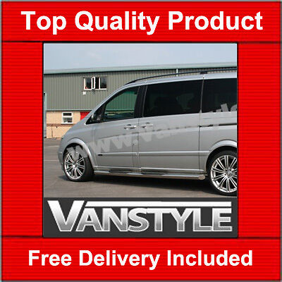 Mercedes Vito Viano 2004- 76Mm Side Steps Side Bars Extra Long Stainless Steel