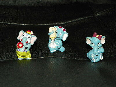 3 Vintage KINDER EGG Toys Surprise ELEPHANTS Circus Cake Topper