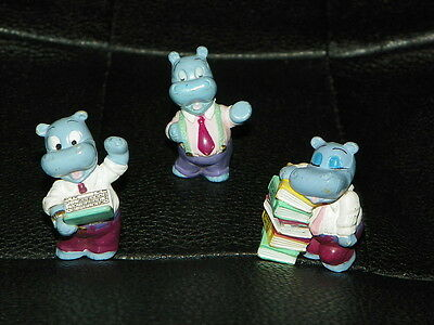 3 Vintage KINDER EGG Toys Surprise HIPPOPOTAMUS Hippos Office Books Cake Topper