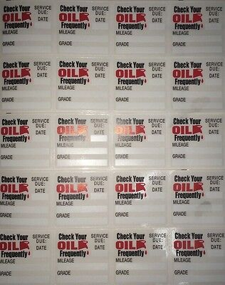 ***20*** Clear Static Cling Oil Change Reminder Stickers, Fast & Free Shipping!!