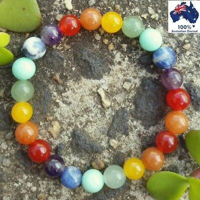 CHAKRA 7 Gemstone Bracelet Crystal Healing Energy All Natural Earthy Stone Beads