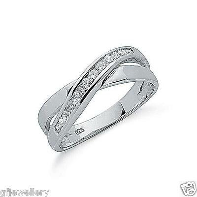Rhodium Plated 925 Hallmarked Sterling Silver Channel Set Crossover Ring