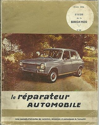 Revue Technique - Le Reparateur Automobile  -  Simca 1100 - 1972