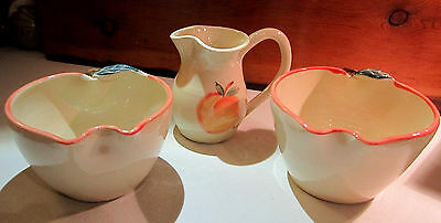 Kovack Pottery - NC - Matching Pitcher & 2 Bowls - PEACH - Hand Painted - MINT