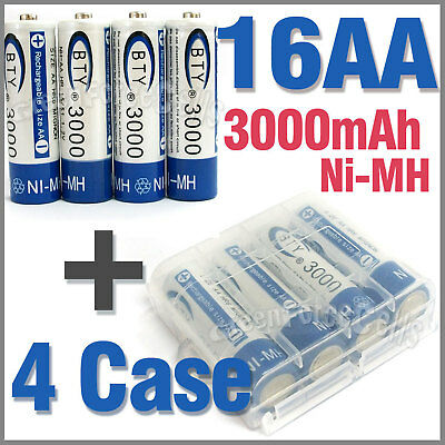 4 x Case + 16 AA Ni-MH 3000mAh rechargeable battery BTY