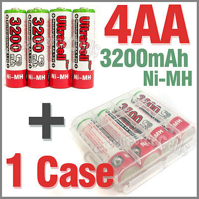 1 x Holder Case Box+ 4 AA Ni-MH 3200mAh 1.2V rechargeable battery UltraCell Red
