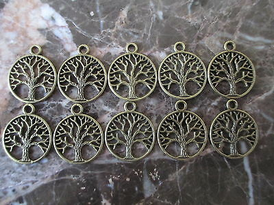 Lot of 10-Bronze Tree of Life Charm Medallions-Pagan Celtic Wicca ChakraNew Age