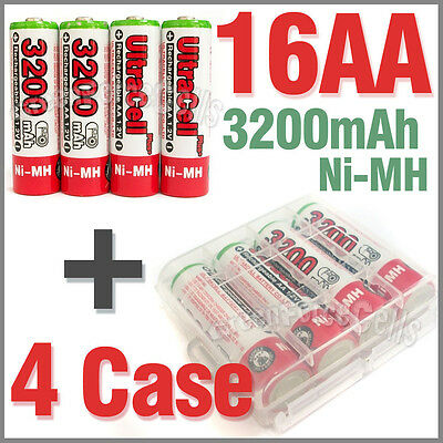 4 x Holder Case Box+ 16 AA Ni-MH 3200mAh 1.2V rechargeable battery UltraCell Red
