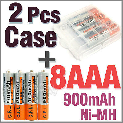 2 x Case + 8 AAA Ni-MH 900mAh rechargeable battery CFL