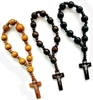 3 Wood Bead One Decade Rosary Bracelets Cross Travel Pocket Rosaries