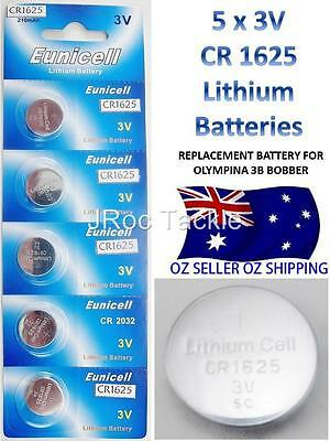 5 EUNICELL CR 1625 3V LITHIUM BATTERY 210mAh Replacement Olympina 3B Bobbers