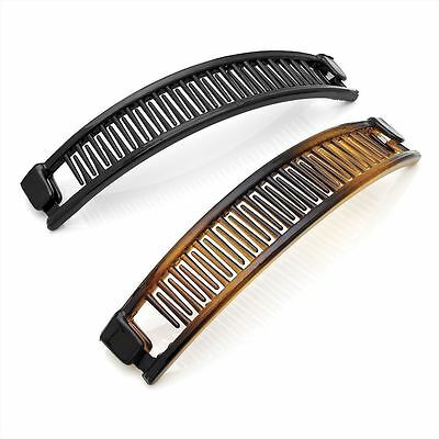 Set of 2 Black and Tortoise shell Colour Plastic Hair Banana Clips Combs 13cm