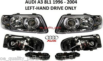 Audi A3 8L1 2000- 2003 Front Headlamps Head Lamp Headlights H7+H1 Pair Lhd Only