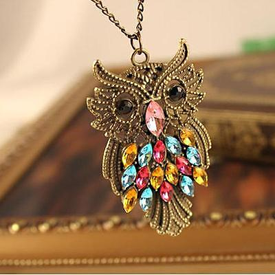 hot stylish vintage colorful cute owl bird carved hollow long chain necklace