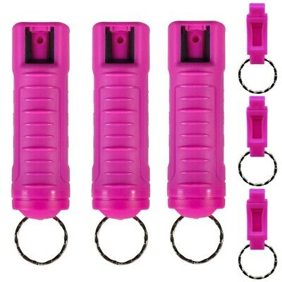 Police Magnum 1/2oz pepper spray 3 Hot Pink Molded Keychain 3 Quick Release