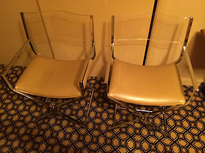 2 Mid-Century Modern Chrome, Leather & Lucite Back Chairs