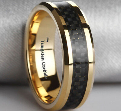 New Boxed Gold Gp Tungsten Carbide with Carbon Inlay Mens Wedding Band Ring 8mm
