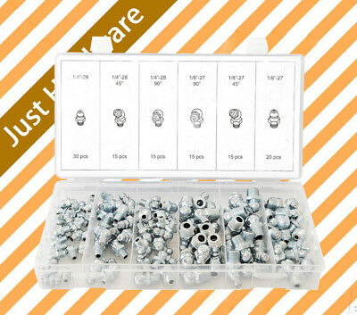 110 pc Hydraulic Grease Fitting Assortment Imperial Nipple Grease Gun Adapter