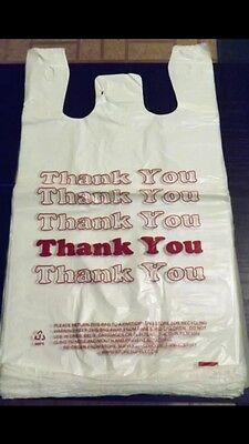 "Thank You Plastic Medium Size Shopping Merchandise Bags 11.5""x 6"" x 21"" Lot 50"
