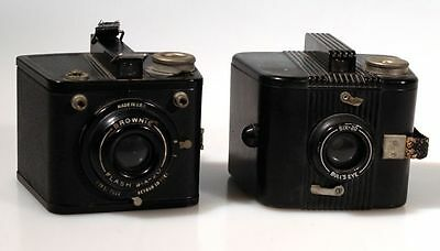 Set Of 2, Kodak Six-20 Bulls Eye Camera   Brownie Flash Six-20 Camera, Art Deco