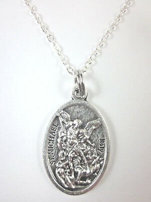 "St Michael the Archangel /Guardian Angel Medal Pendant Necklace 20"" Chain"