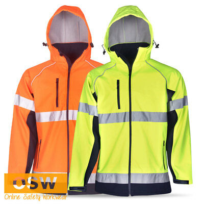 Hi Vis Day/Night Safety Waterproof Windproof Hoodie Soft Shell Reflective Jacket