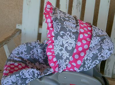 gray and white Damask w/polka dot Infant Car Seat Cover and Hood Cover w/ ruffle