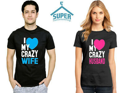 Couple T Shirt - Husband and Wife Shirt - I love my Crazy Husband Wife Tee